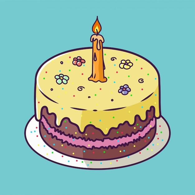 Tarjeta de aniversario de feliz cumpleaños con cupcake y una vela en diseño brillante Vector Premium