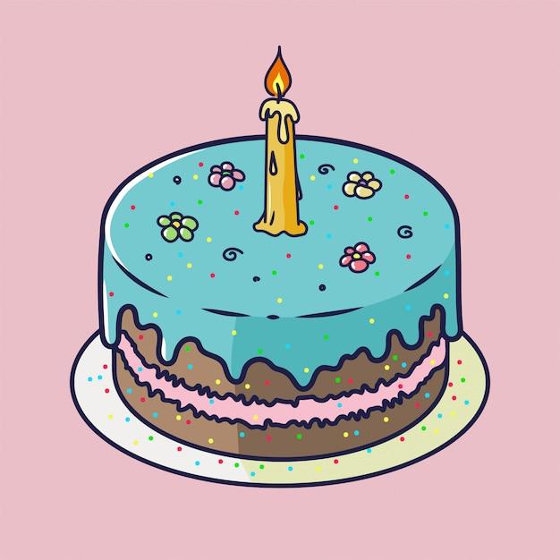 Tarjeta de aniversario de feliz cumpleaños con cupcake y una vela en estilo de diseño brillante Vector Premium