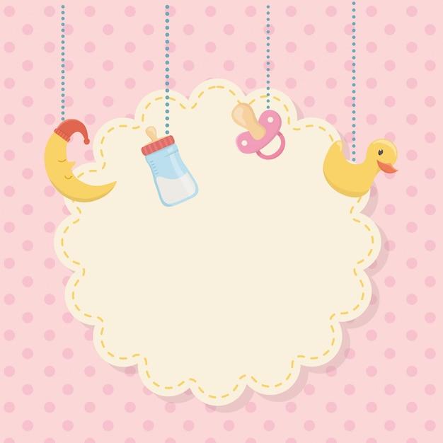 Tarjeta de baby shower con accesorios colgantes. vector gratuito