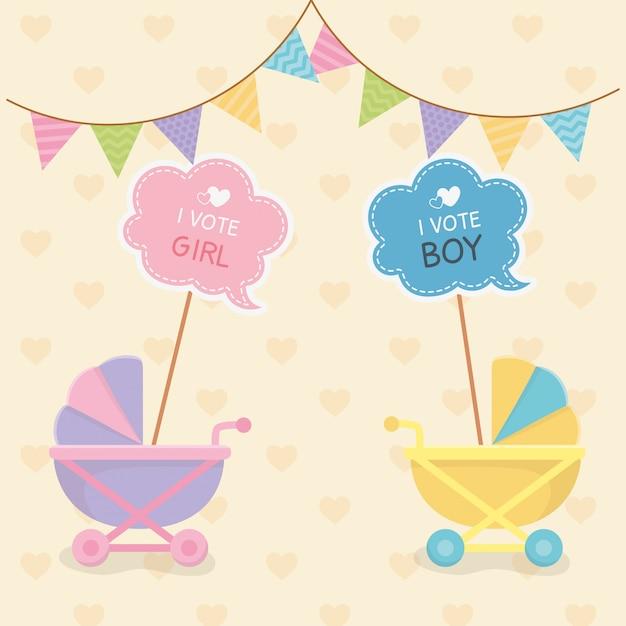Tarjeta de baby shower con carritos. vector gratuito