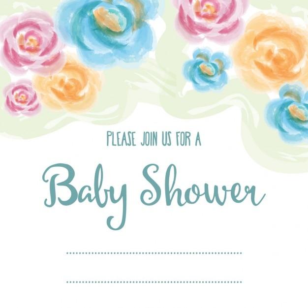 Tarjeta De Baby Shower Delicada Con Flores De Acuarela Descargar