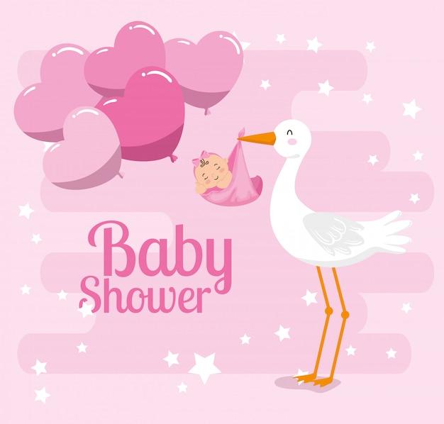 Tarjeta de baby shower con linda cigüeña y decoración Vector Premium