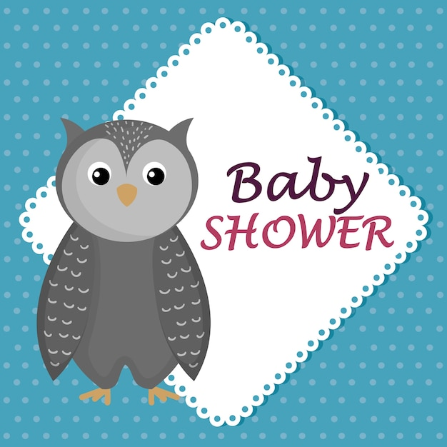 90b9b6104 Tarjeta de baby shower con lindo búho Vector Premium