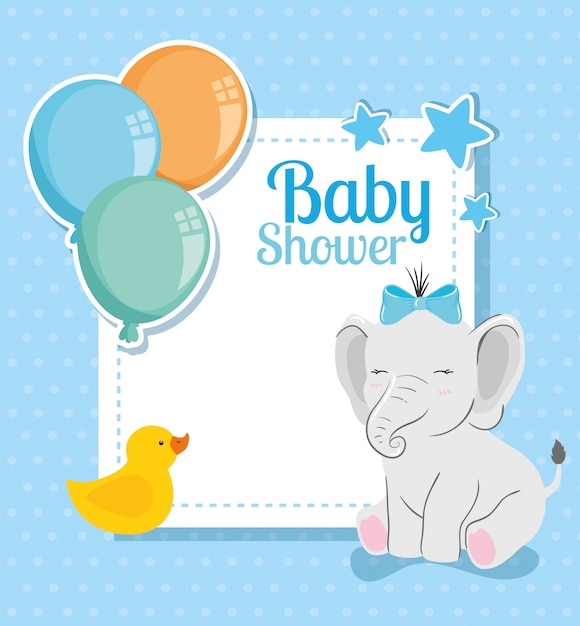 Tarjeta de baby shower con lindo elefante y decoración Vector Premium