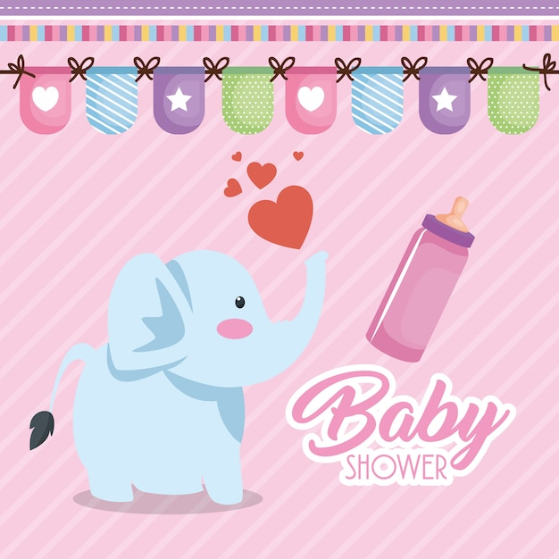 Tarjeta de baby shower con lindo elefante vector gratuito