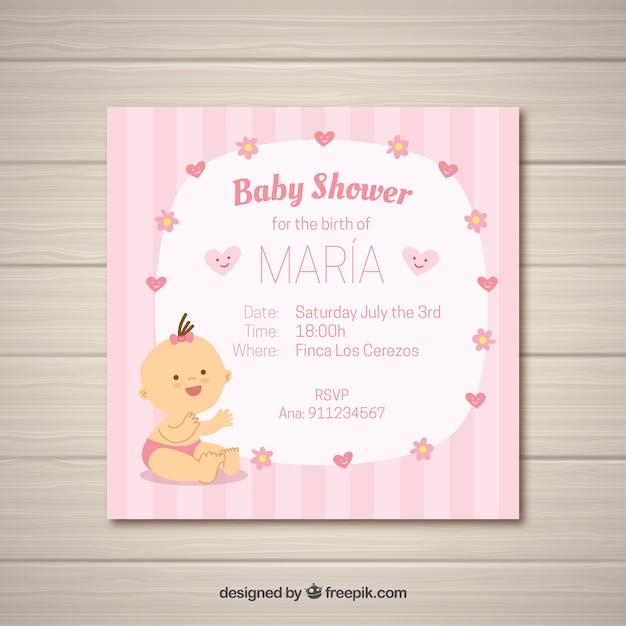 Lista De Baby Shower Nino.Tarjeta De Baby Shower Para Nina Vector Gratis