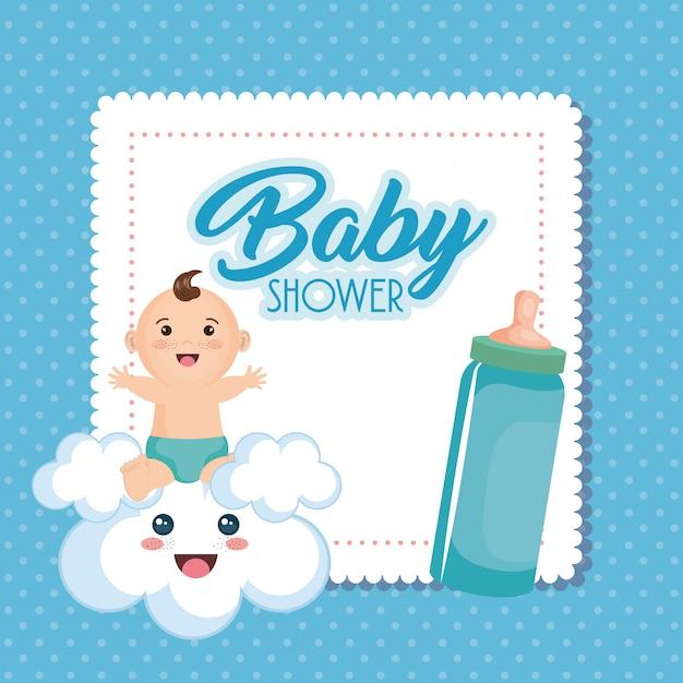 Tarjeta de baby shower con niño vector gratuito