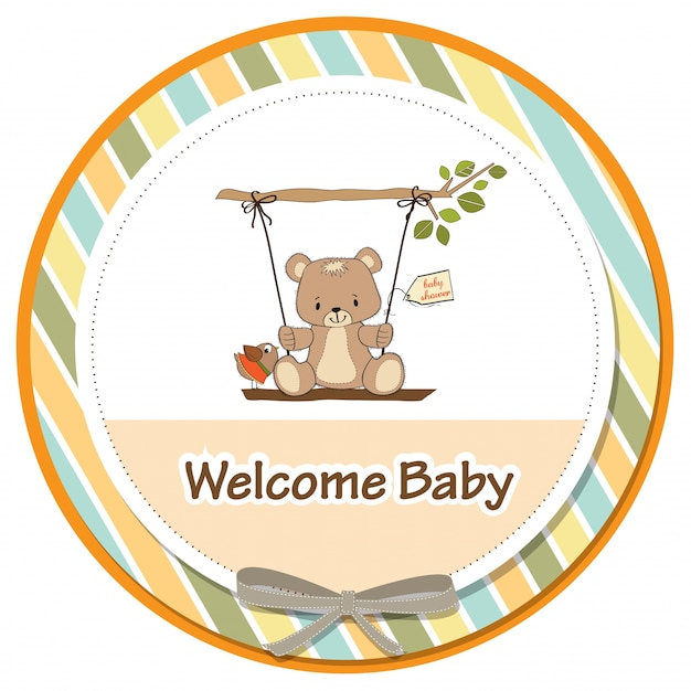 Tarjeta de baby shower con oso de peluche en un columpio | Descargar ...