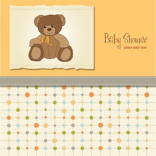 Tarjeta de baby shower con oso de peluche de juguete Vector Premium