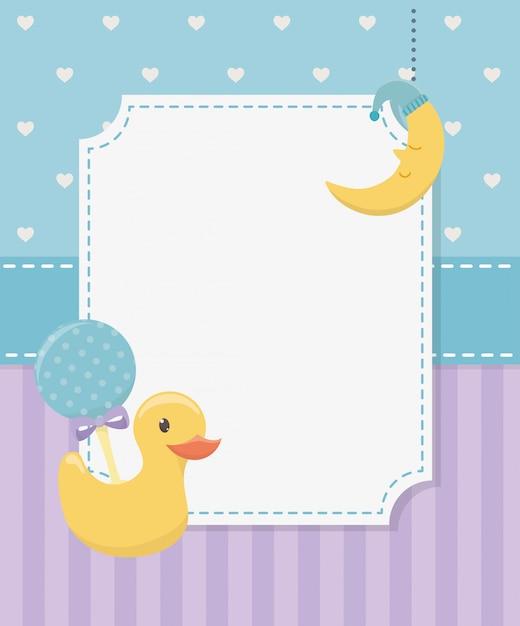 Tarjeta de baby shower con pato de goma y accesorios. vector gratuito