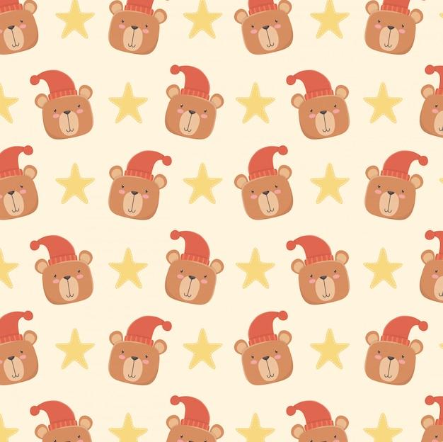 Tarjeta de baby shower con patrón de cabezas de osos pequeños. vector gratuito