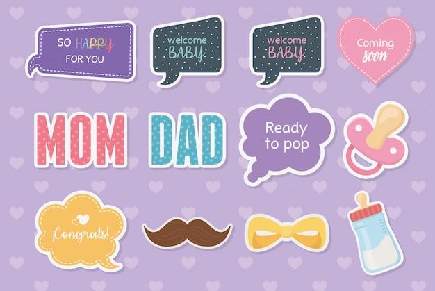 Tarjeta de baby shower con set de accesorios y mensajes. vector gratuito