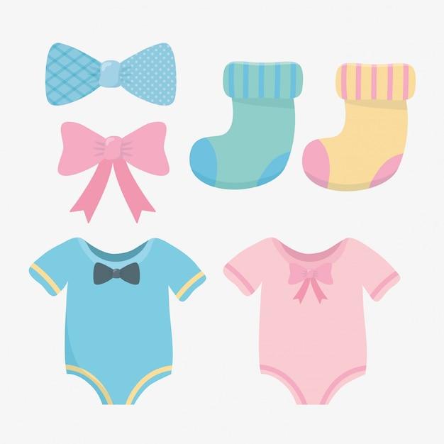 Tarjeta de baby shower con set de accesorios. vector gratuito