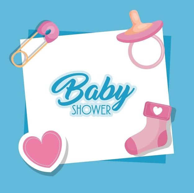 Tarjeta de baby shower con set de iconos vector gratuito