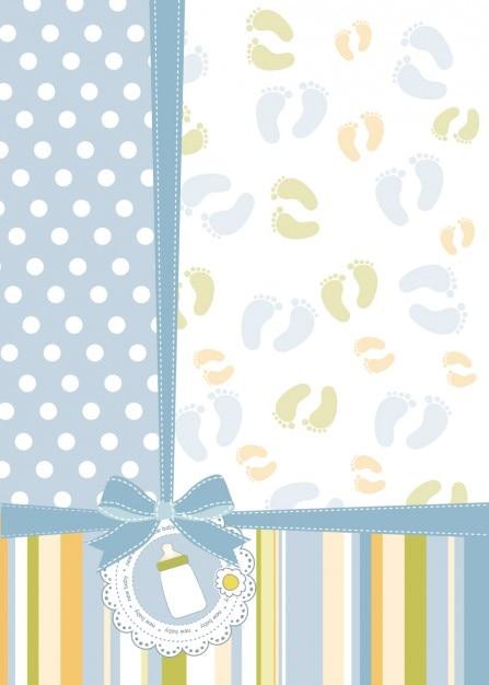 Tarjeta babyshower con pies de impresiones   Descargar Vectores gratis