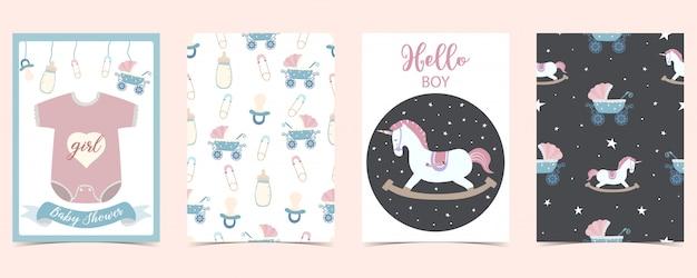 Tarjeta de bebé con caballo, camiseta, biberón. hola chico baby shower Vector Premium