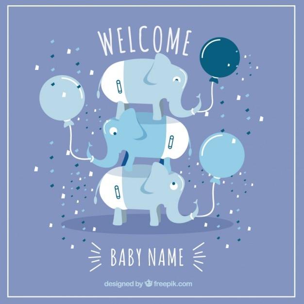 Tarjeta de bienvenido bebé vector gratuito