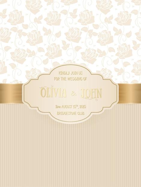 Tarjeta de boda con damasco y elegantes elementos florales. vector gratuito