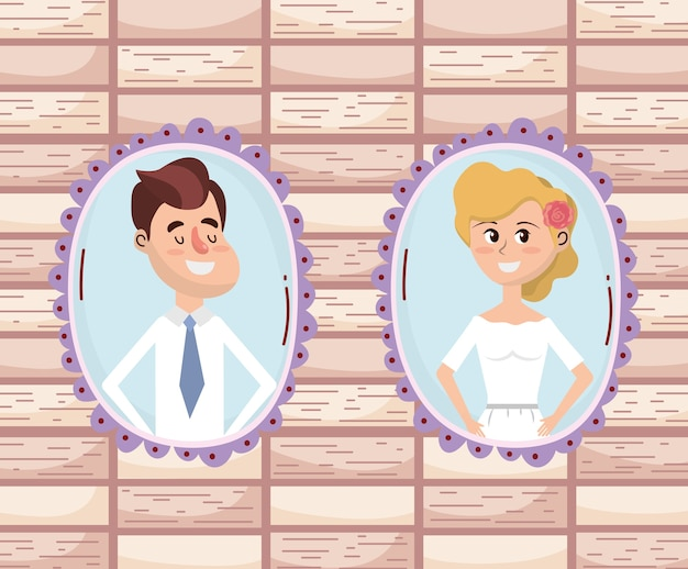 Tarjeta de boda diseño de dibujos animados Vector Premium