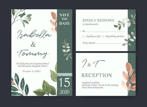 Tarjeta de boda flor acuarela, tarjeta de agradecimiento, invitación ilustración de matrimonio vector gratuito