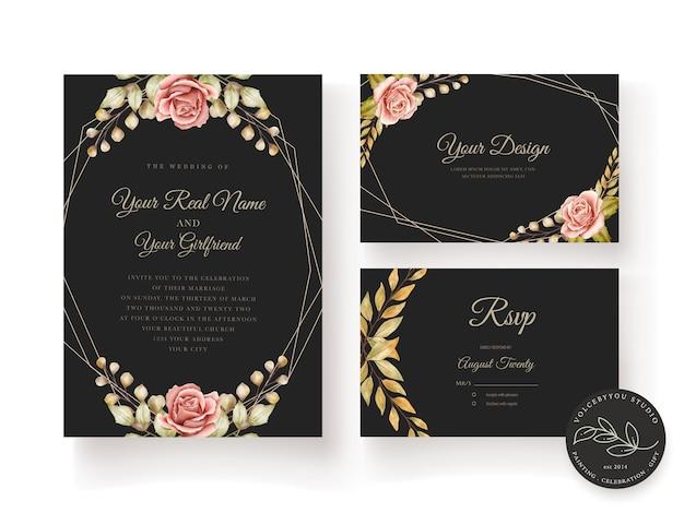 Tarjeta de boda floral vector gratuito
