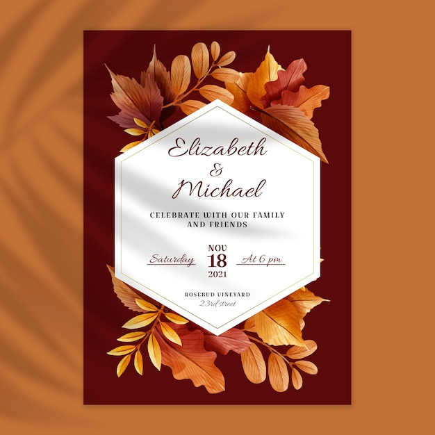 Tarjeta de boda floral Vector Premium