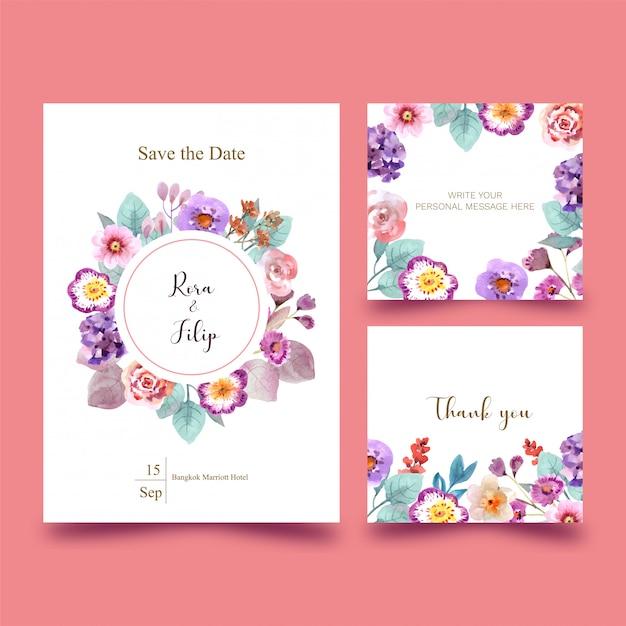 Tarjeta de boda con flores en rosa Vector Premium