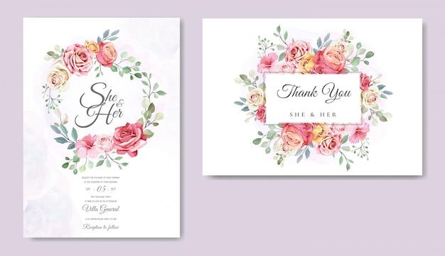 Tarjeta de boda con hermosa plantilla floral Vector Premium