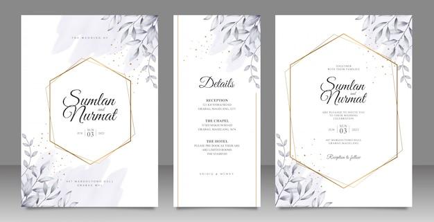 Tarjeta de boda marco geométrico dorado establece plantilla con hojas de acuarela Vector Premium