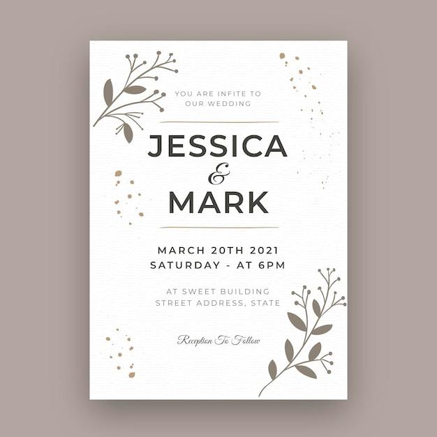 Tarjeta de boda mínima vector gratuito