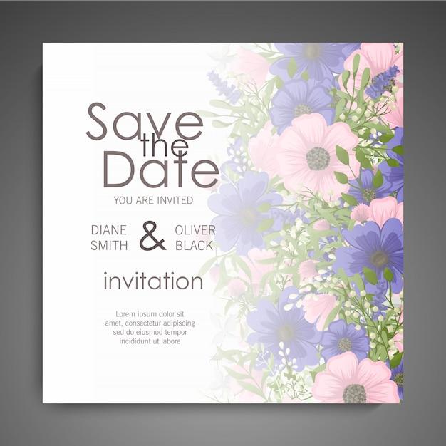 Tarjeta de boda vector gratuito