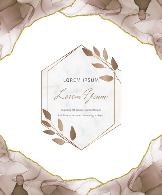 Tarjeta de brillo de tinta de alcohol marrón con marcos de mármol geométricos y hojas. fondo abstracto pintado a mano. Vector Premium