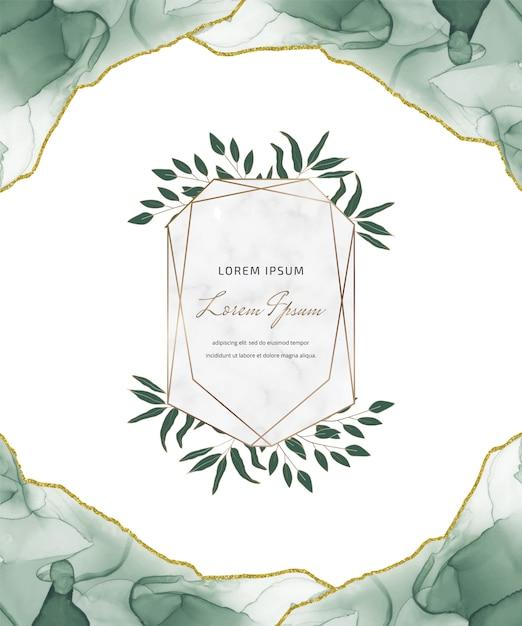 Tarjeta de brillo de tinta de alcohol verde con marcos de mármol geométricos y hojas. fondo abstracto pintado a mano. Vector Premium