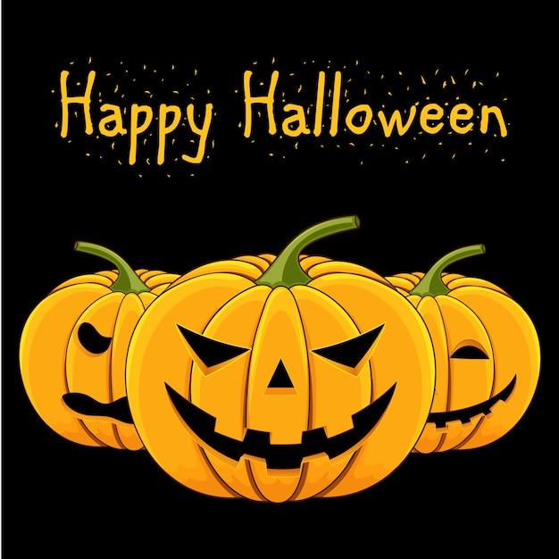 Tarjeta con una calabaza malvada para halloween Vector Premium