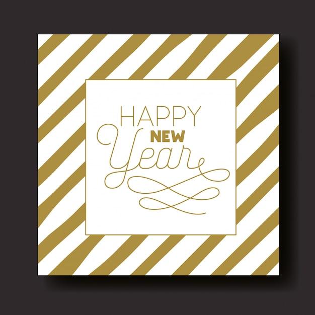 Tarjeta de caligrafía de feliz año nuevo con rayas vector gratuito