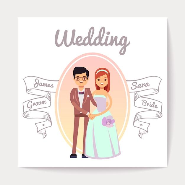 Tarjeta casada o dedicada de la boda del vector de la boda de novia y del novio de la pareja. Vector Premium
