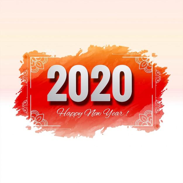 Tarjeta de celebración de año nuevo hermoso festival 2020 vector gratuito