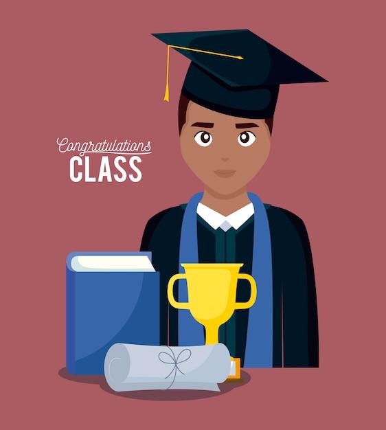 Tarjeta de celebración de graduación con niño graduado. Vector Premium