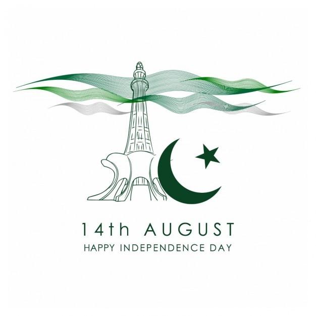 Tarjeta de la celebración pakistán día de la independencia vector gratuito