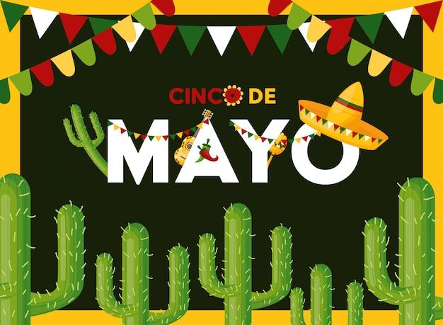 Tarjeta de cinco de mayo con cactus, ilustración de méxico vector gratuito