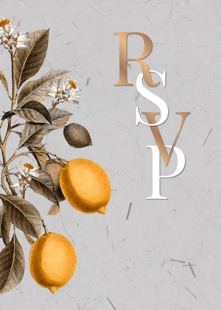 Tarjeta citrus rsvp vector gratuito