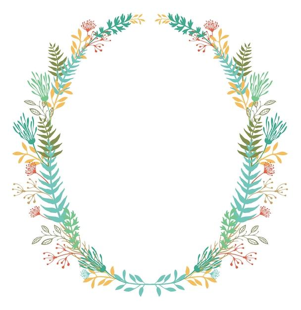 Tarjeta con marco de flores y helechos Vector Gratis