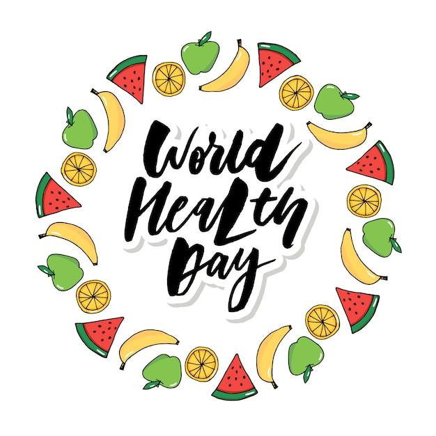 Tarjeta concept vector - día mundial de la salud frutas vegetales Vector Premium