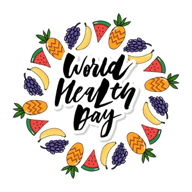 Tarjeta conceptual - día mundial de la salud frutas vegetales Vector Premium
