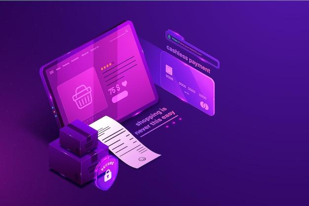 Tarjeta de crédito de comercio electrónico isométrica. vector gratuito
