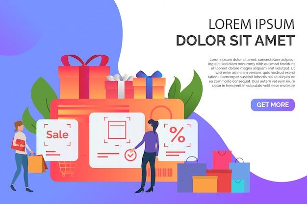 Tarjeta de crédito, compras y presentación femenina. vector gratuito