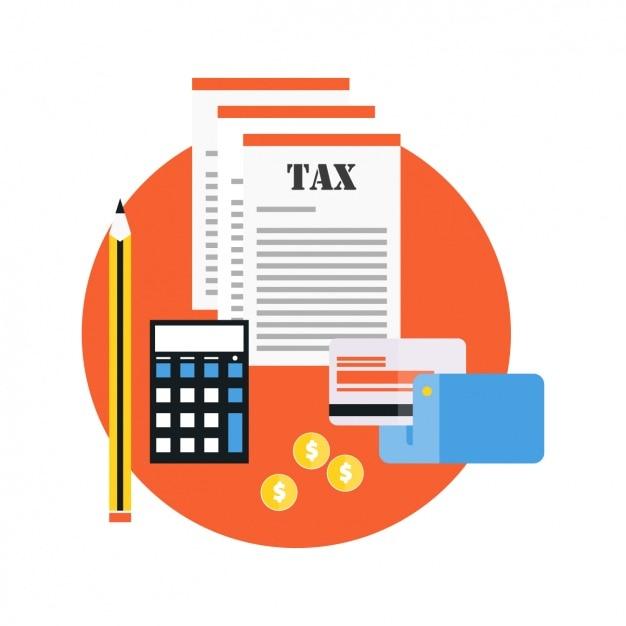 Tarjeta de crédito con documentos fiscales vector gratuito