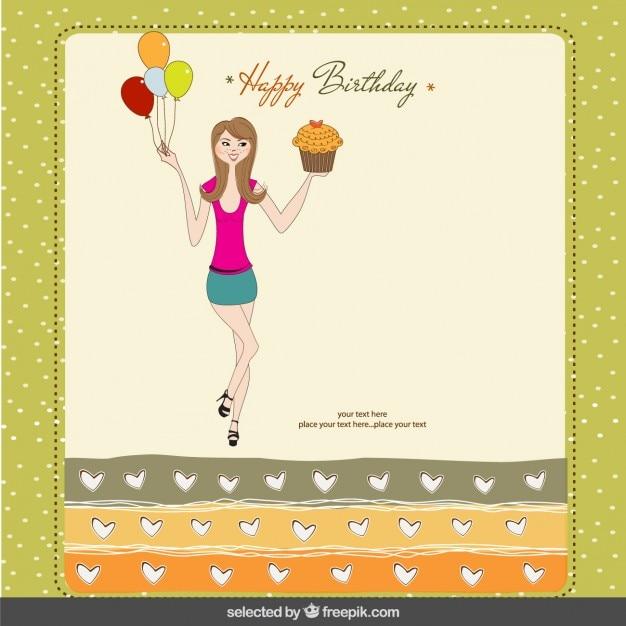 Tarjeta De Cumpleaños Con Adolescente Vector Gratis