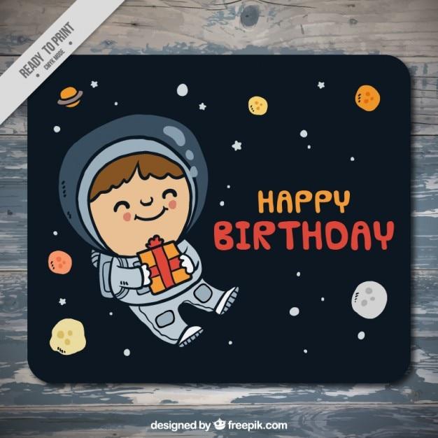 Tarjeta De Cumpleaños De Astronauta En El Espacio Dibujado A