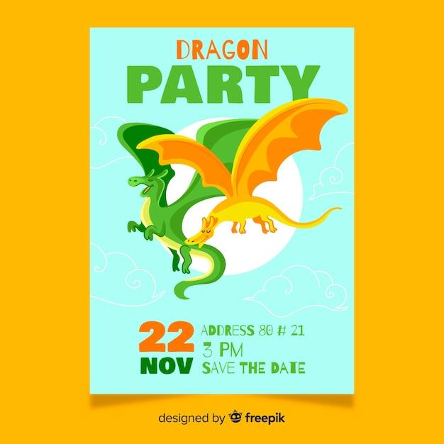 Tarjeta de cumpleaños con coloridos dragones vector gratuito